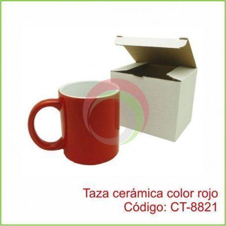 Taza cerámica color rojo