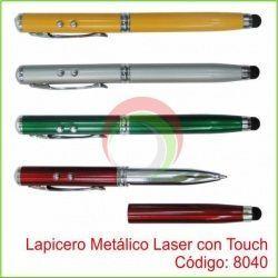Lapicero Metálico Laser con Touch y Linterna