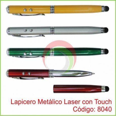 Lapicero Metalico Laser con Touch y Linterna