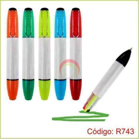 Resaltador 3 colores con lapicero