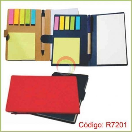 Libreta ecologica con post it y lapicero