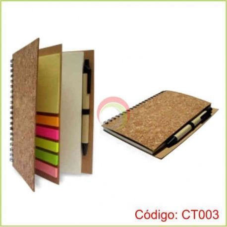 Libreta ecologica de corcho con lapicero