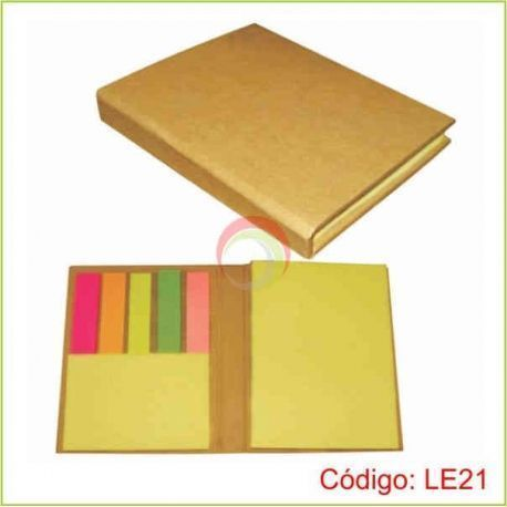 Libreta ecologica con post it de colores