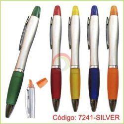 Lapicero Plastico con resaltador Silver