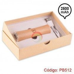Power Bank de madera cilindrico