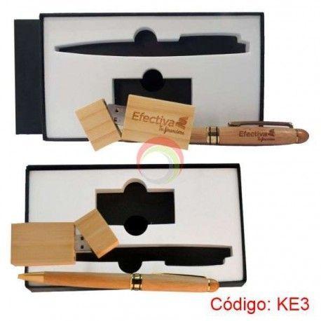 Kit Ecologico Usb y Lapicero Bamboo