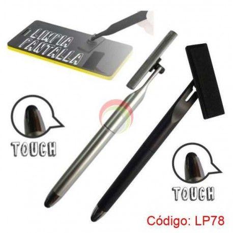 Lapicero plastico con touch y limpiador de pantalla lp78
