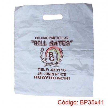 Bolsas Plasticas con asa parche de 35x41