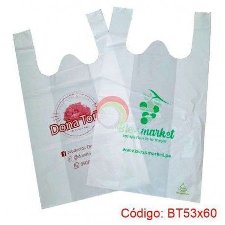 Bolsas Plasticas con asa T-Shirt de 53x60
