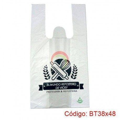 Bolsas Plasticas con Asa T-Shirt de 38x48