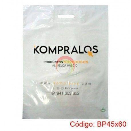 Bolsas Plasticas con Asa Parche de 45x60 biodegradable