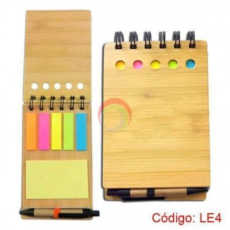 Libreta ecologica a6 de bambu con post-it